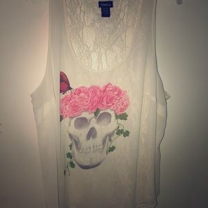 Torrid Silk and Lace Skull Top
